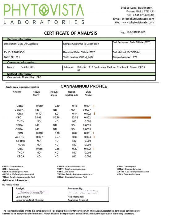 Beliebis UK's 20mg CBD Capsules COA