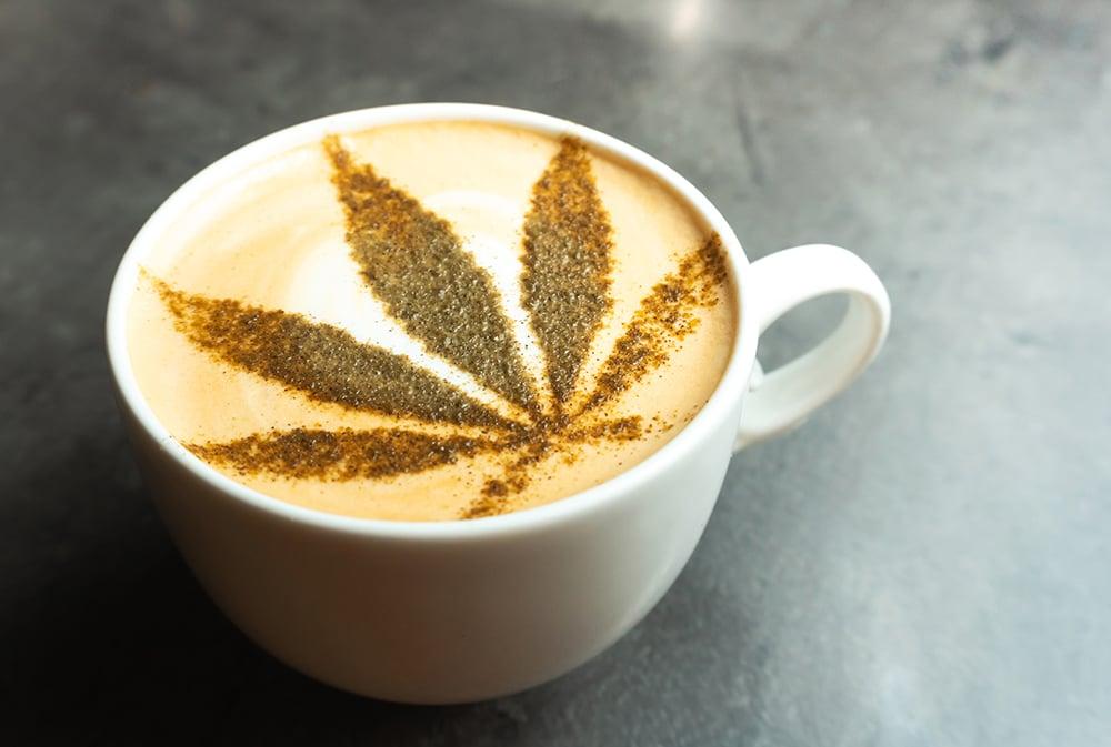 CBD Coffee with hemp leaf chocolate pattern