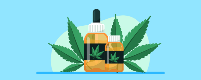 What is CBD? Article Featured Image with CBD oil bottles and hemp leaves