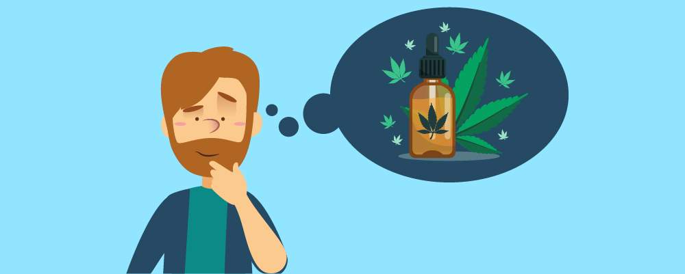 What is CBD? Article Header Image with man thinking about cbd products