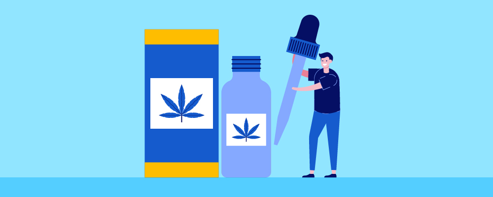 What is CBD? Article Header Image with giant CBD oil bottles